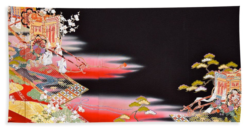Bath Towel featuring the tapestry - textile Spirit of Japan T81 by Miho Kanamori