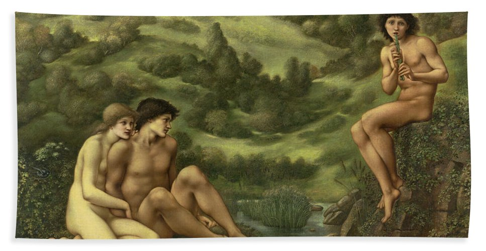 British Hand Towel featuring the painting The Garden Of Pan by Edward Burne-Jones