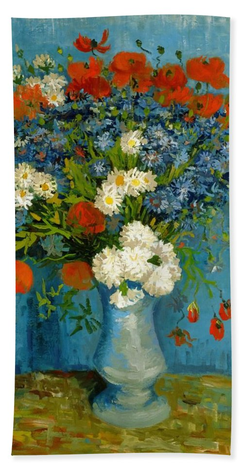 Vincent Van Gogh Bath Towel featuring the painting Vase With Cornflowers And Poppies by Vincent Van Gogh