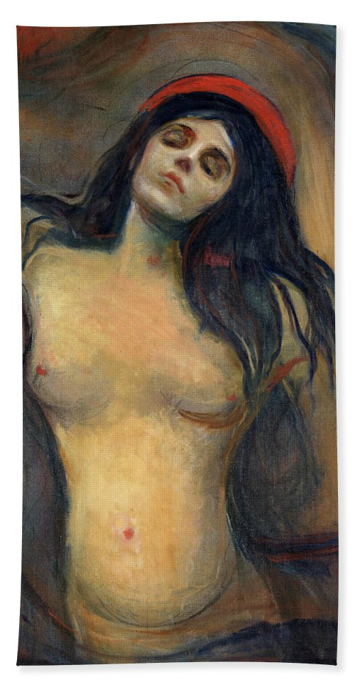 Edvard Munch Hand Towel featuring the painting Madonna by Edvard Munch