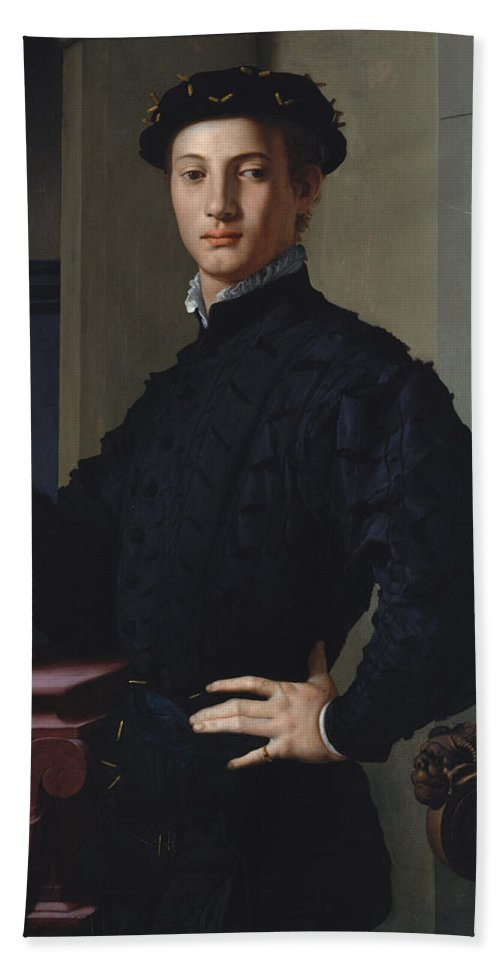 Bronzino Bath Sheet featuring the painting Portrait Of A Young Man by Bronzino