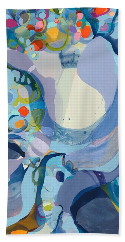 Abstract Hand Towel featuring the painting 70 Degrees by Claire Desjardins
