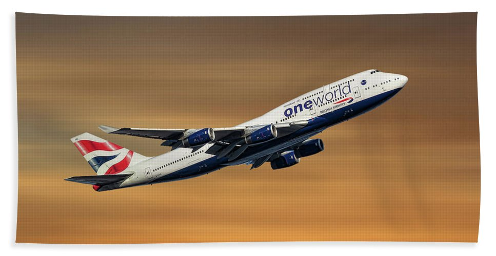 British Bath Towel featuring the mixed media British Airways Boeing 747-436 by Smart Aviation