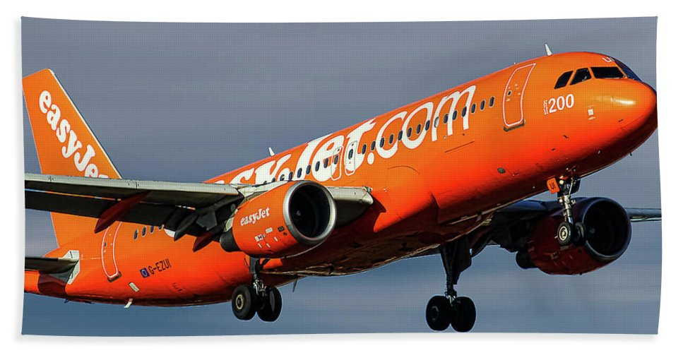 Easyjet Bath Towel featuring the mixed media Easyjet 200th Airbus Livery Airbus A320-214 by Smart Aviation