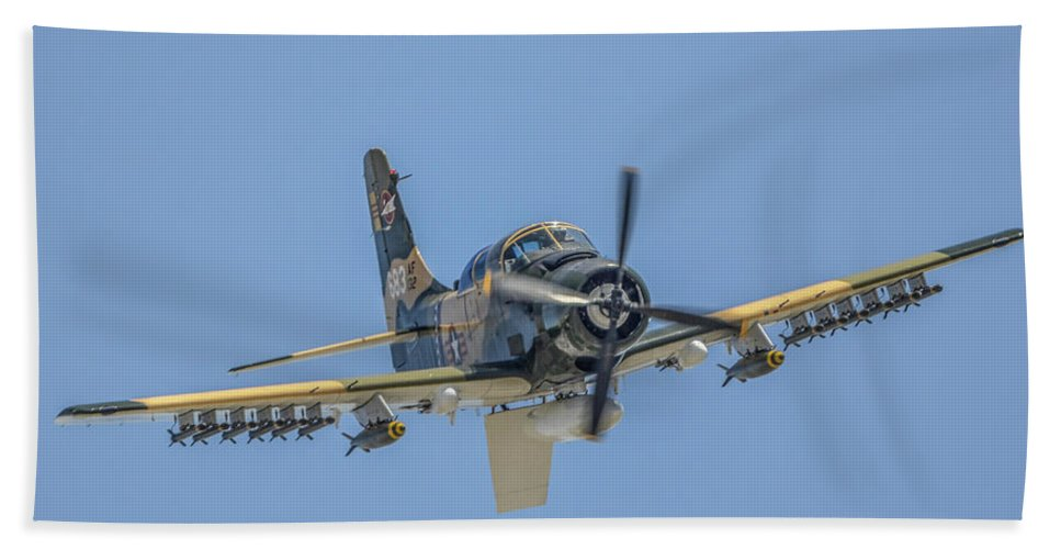 Douglas A-1d Skyraider Hand Towel featuring the photograph A-1d Skyraider by Tommy Anderson