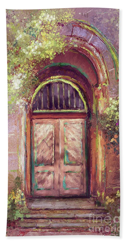 Door Hand Towel featuring the digital art A Beautiful Mystery by Lois Bryan