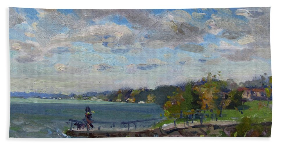 Cloudy Day Bath Towel featuring the painting A Cloudy Day At Gratwick Park by Ylli Haruni