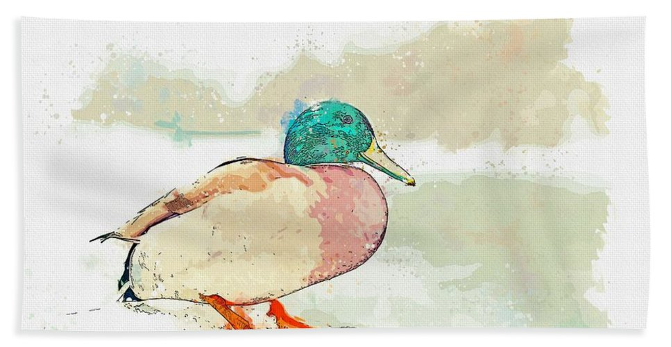 Duck Hand Towel featuring the painting A Migrating Loon, Oslo, Norway - Watercolor By Adam Asar by Adam Asar