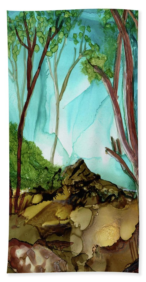 Sycamore Bath Sheet featuring the painting A New Day by Diane Maley