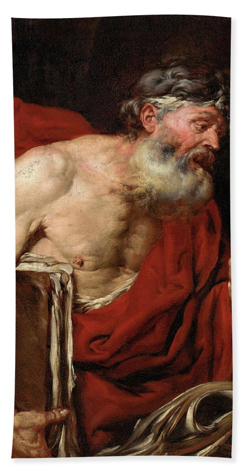 A Philosopher Bath Towel featuring the painting A Philosopher by Giovanni Battista Langetti