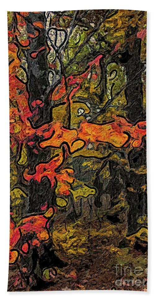 Forest Bath Sheet featuring the painting A Time In The Woods by C L Lassila