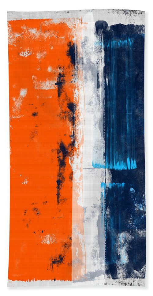 Abstract Bath Towel featuring the painting Abstract Orange And Blue Study by Naxart Studio