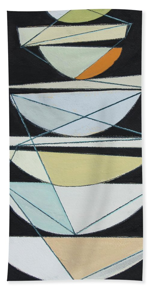 Abstract Bath Towel featuring the painting Abstract Sails Iv by Rob Delamater