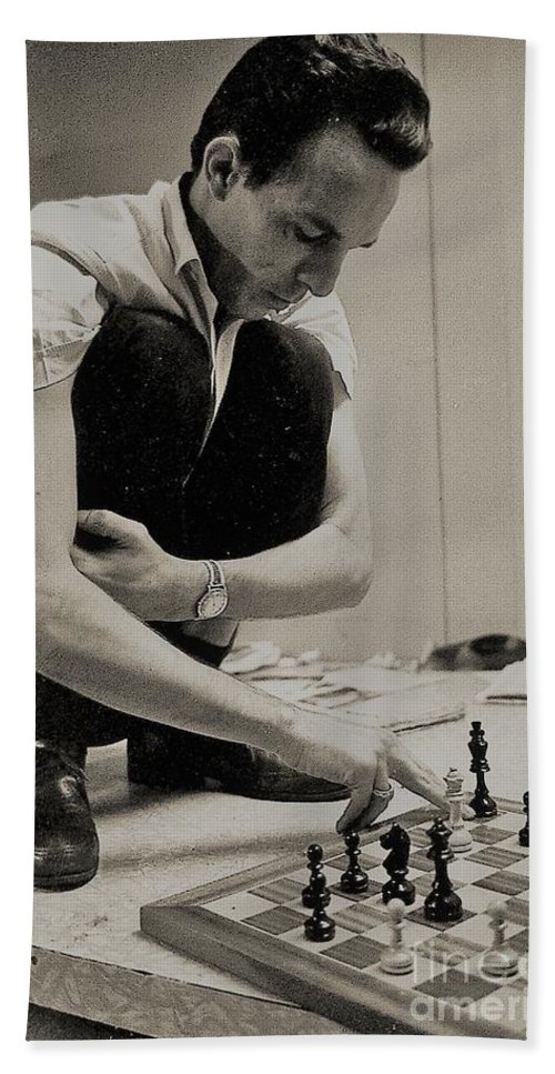 The Chess Player On Table Top Bath Sheet featuring the photograph Action Taken Now by Venancio Diaz