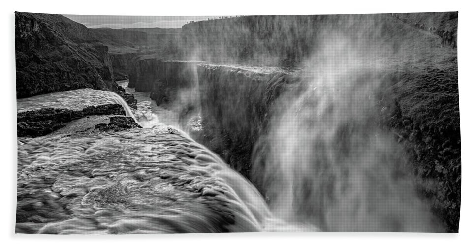 Iceland Bath Towel featuring the photograph Admiring Gullfoss by Darren White