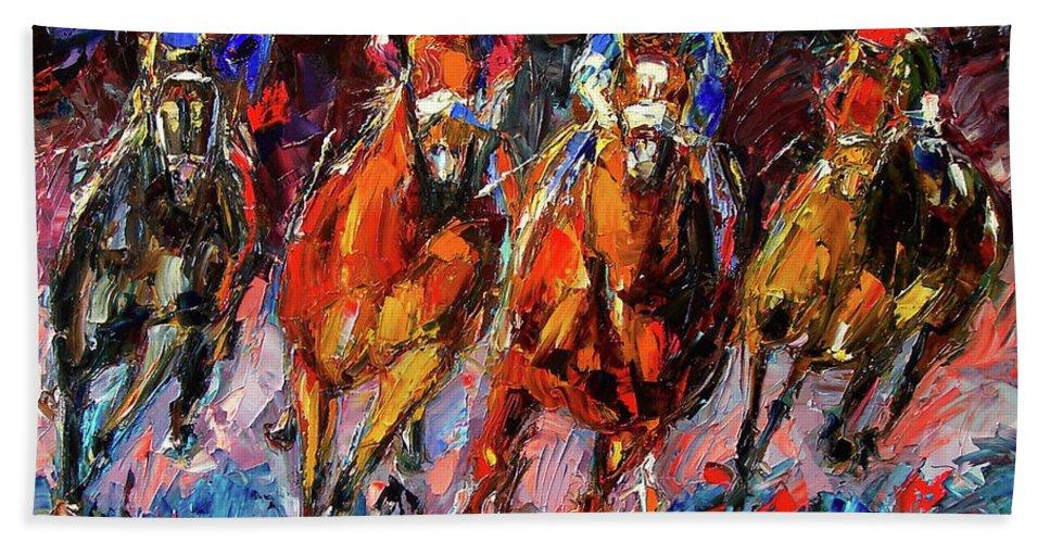 Horse Race Bath Towel featuring the painting Adrenalin by Debra Hurd