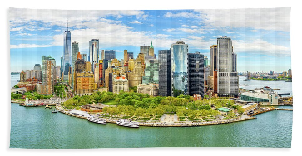 New York Bath Towel featuring the photograph Aerial Panorama Of Downtown New York Skyline by Mihai Andritoiu
