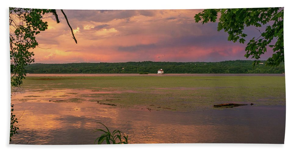 Esopus Lighthouse Bath Towel featuring the photograph After A June Thunderstorm II by Jeff Severson