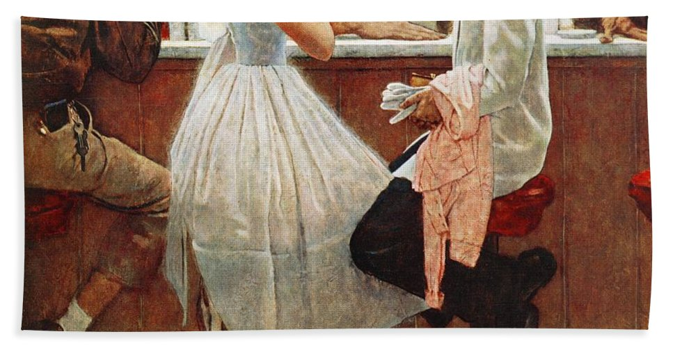 Corsage Bath Towel featuring the drawing After The Prom by Norman Rockwell