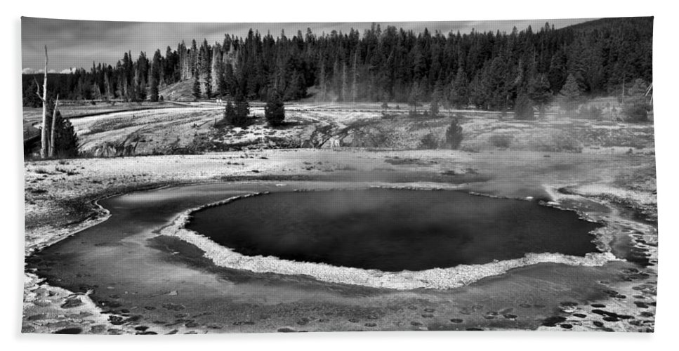 Yellowstone Hand Towel featuring the photograph Afternoon At Surprise Pool Black And White by Adam Jewell