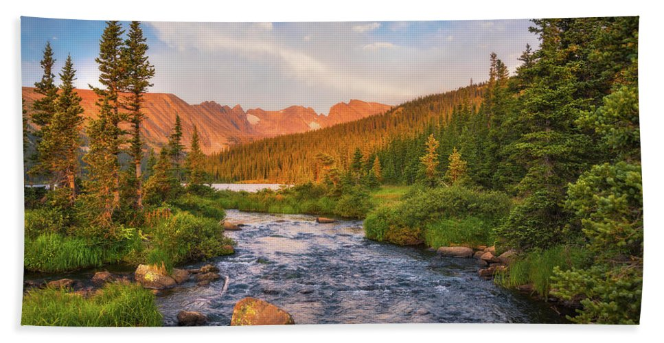 Colorado Bath Towel featuring the photograph Alpenglow Creek by Darren White