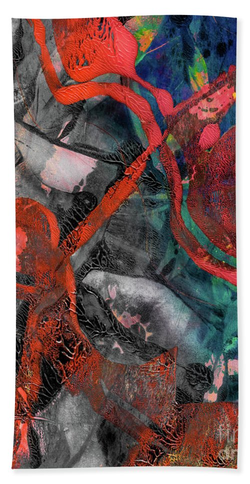 Abstract Hand Towel featuring the mixed media Alternate Reality by Laura L Leatherwood