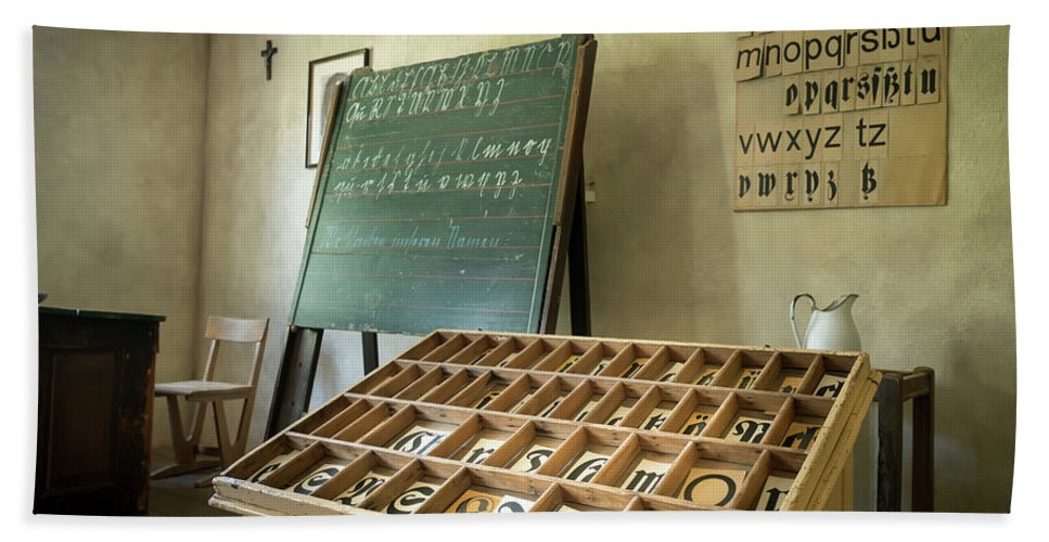 Ancient Bath Sheet featuring the photograph An Old Classroom With Blackboard And Boards With Old Script by Stefan Rotter