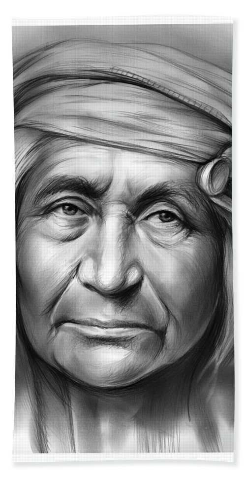 Apache Hand Towel featuring the drawing Apache by Greg Joens