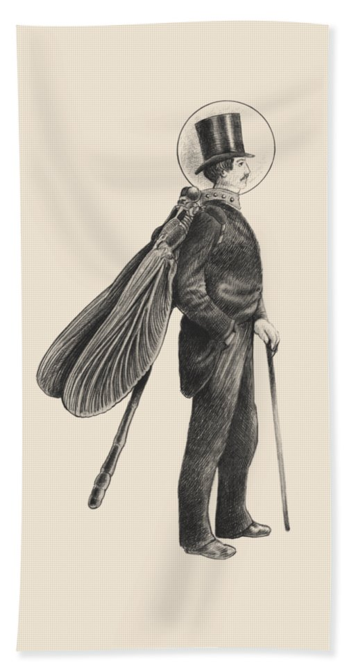 Vintage Hand Towel featuring the drawing Inspector Dragonfly by Eric Fan