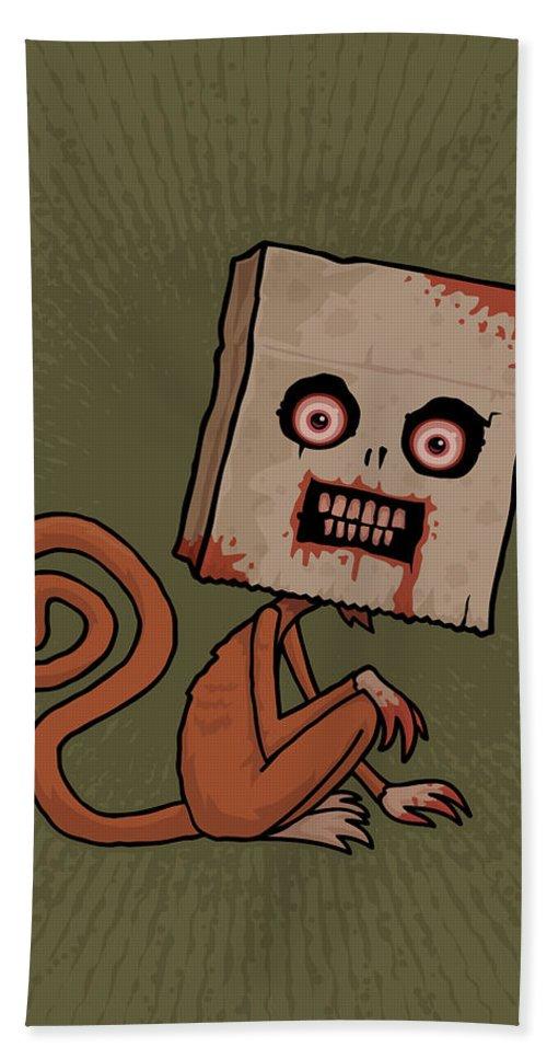 Monkey Hand Towel featuring the digital art Psycho Sack Monkey by John Schwegel
