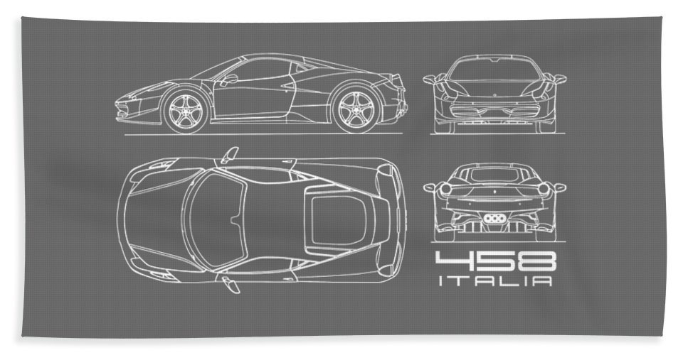 Ferrari 458 Bath Towel featuring the photograph The 458 Italia Blueprint - Black by Mark Rogan