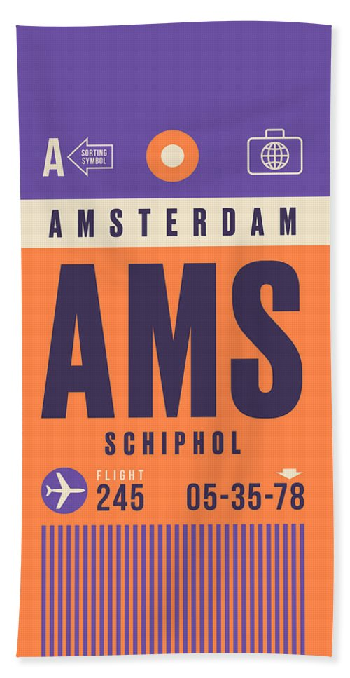 Retro Styled Luggage Tag Design For Amsterdam Schiphol (ams) International Airport Netherlands. Bath Towel featuring the digital art Retro Airline Luggage Tag - Ams Amsterdam Schiphol by Ivan Krpan