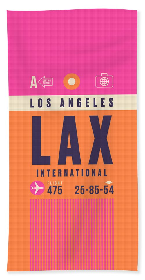 Retro Styled Luggage Tag Design For Los Angeles (lax) International Airport Usa. Bath Towel featuring the digital art Retro Airline Luggage Tag - Lax Los Angeles by Ivan Krpan