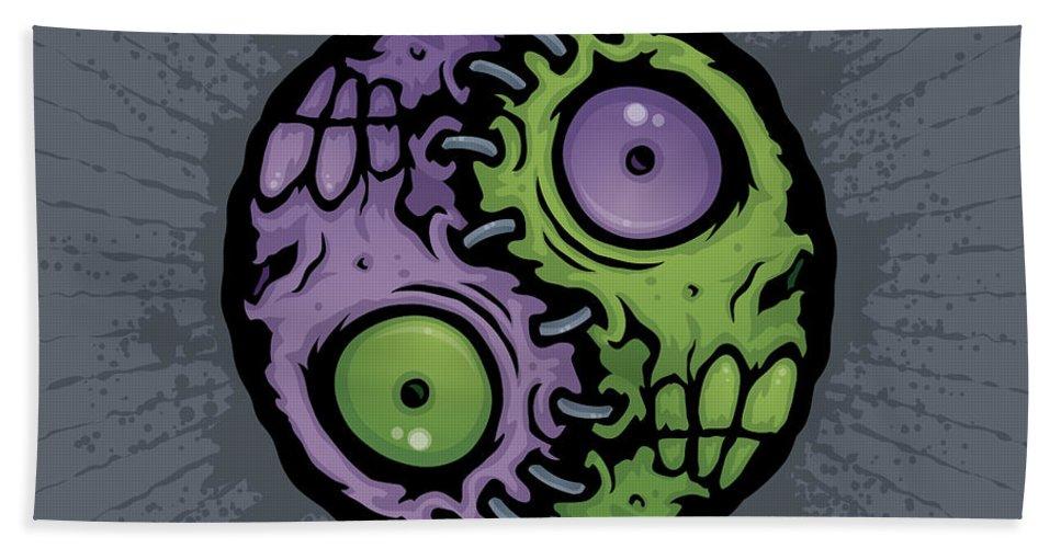 Zombie Hand Towel featuring the digital art Zombie Yin-yang by John Schwegel