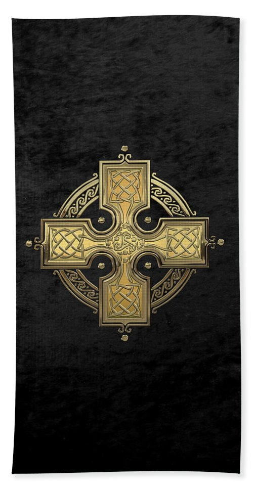 'celtic Treasures' Collection By Serge Averbukh Bath Towel featuring the digital art Ancient Gold Celtic Knot Cross Over Black Velvet by Serge Averbukh
