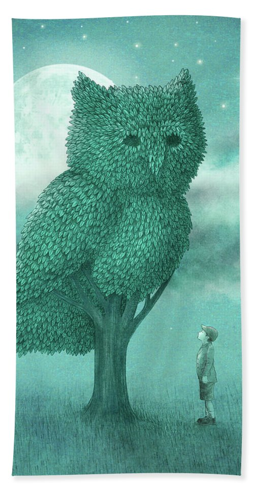 Owl Bath Towel featuring the drawing The Night Gardener by Eric Fan