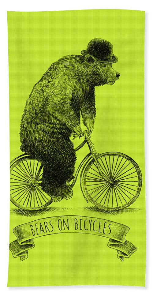 Bear Hand Towel featuring the drawing Bears on Bicycles - Lime by Eric Fan