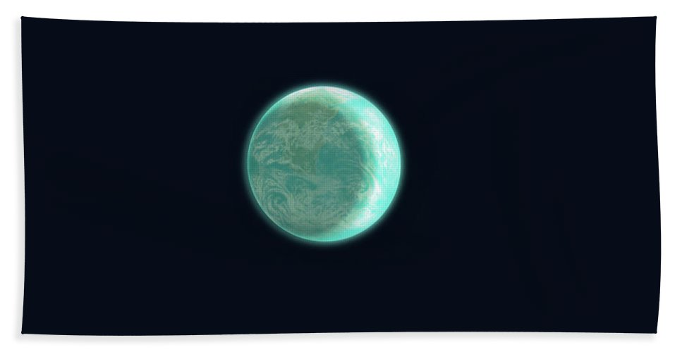 Space Bath Towel featuring the drawing Pale Blue Dot by Eric Fan