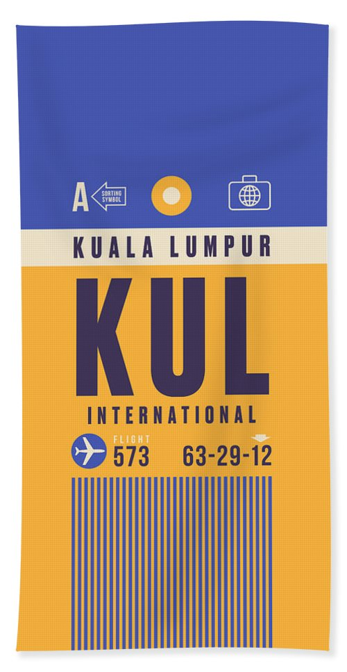Airline Bath Towel featuring the digital art Retro Airline Luggage Tag - Kul Kuala Lumpur Airport by Ivan Krpan