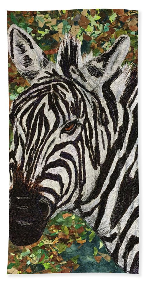 Zebra Bath Towel featuring the tapestry - textile Zebra by Dolores Fegan