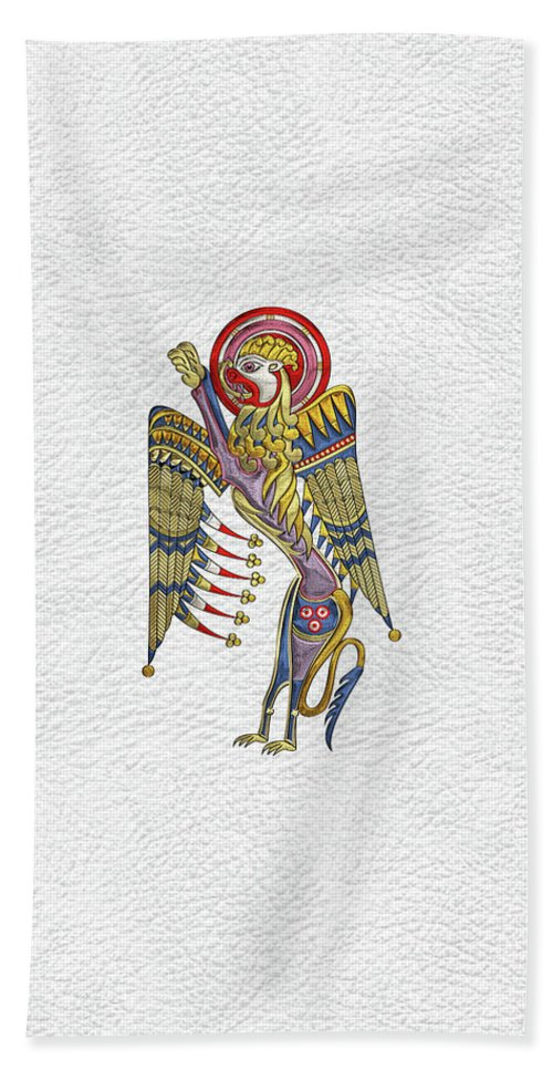 'celtic Treasures' Collection By Serge Averbukh Bath Towel featuring the digital art Sacred Celtic Lion Over White Leather by Serge Averbukh