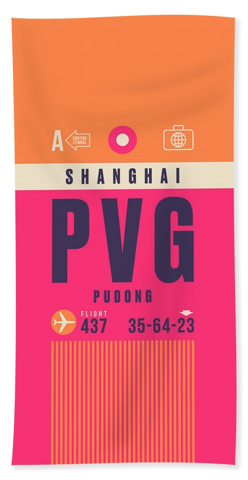 Airline Bath Towel featuring the digital art Retro Airline Luggage Tag - Pvg Shanghai China by Ivan Krpan