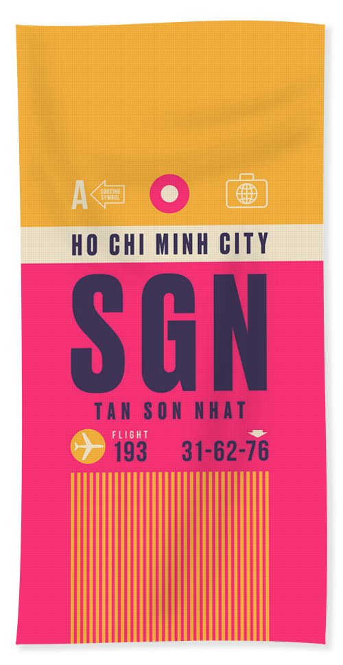 Airline Bath Towel featuring the digital art Retro Airline Luggage Tag - Sgn Ho Chi Minh City Vietnam by Ivan Krpan