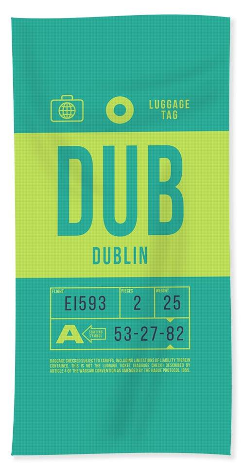 Airline Bath Towel featuring the digital art Retro Airline Luggage Tag 2.0 - Dub Dublin Ireland by Ivan Krpan