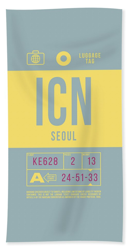 Airline Bath Towel featuring the digital art Retro Airline Luggage Tag 2.0 - Icn Seoul Korea by Ivan Krpan
