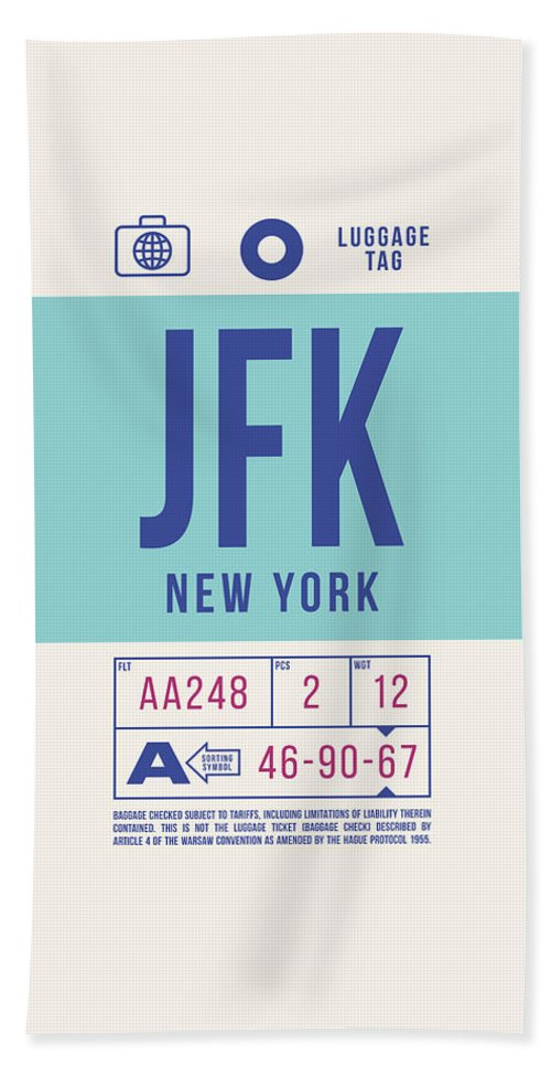Airline Bath Towel featuring the digital art Retro Airline Luggage Tag 2.0 - Jfk New York United States by Ivan Krpan