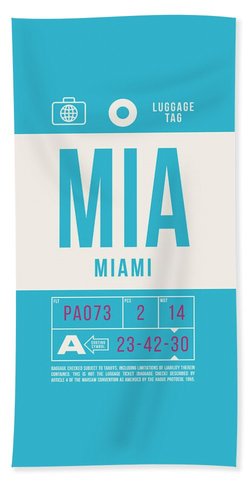Airline Bath Towel featuring the digital art Retro Airline Luggage Tag 2.0 - Mia Miami International Airport United States by Ivan Krpan