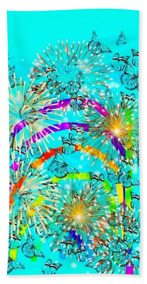 Rainbows Bath Towel featuring the digital art Rainbow Fireworks 24 by Moylom Art Studio