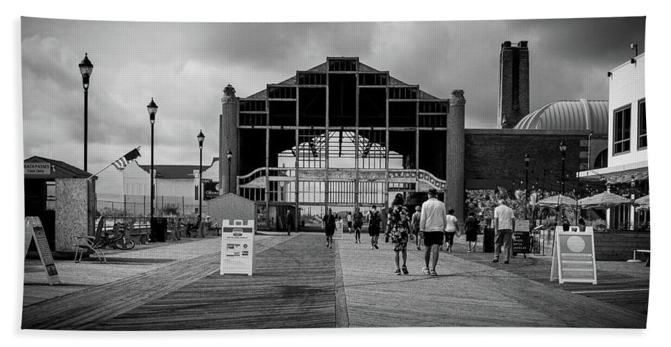 Nj Hand Towel featuring the photograph Asbury Park Boardwalk by Steve Stanger
