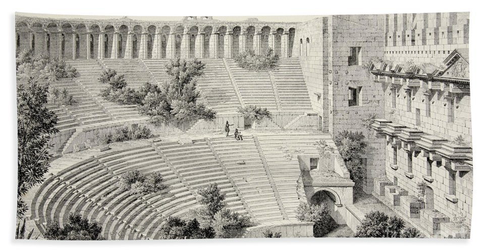 Aspendos Bath Towel featuring the drawing Aspendu Interior Of Theatre, From The Principal Ruins Of Asia Minor by English School